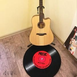 vintage~黑膠唱片 圓形地毯 木地板防刮 背面防滑 玄關 練團室 服飾店 保暖 寵物