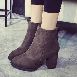短靴女春秋單靴 尖頭磨砂高跟鞋2016 粗跟女靴百搭女鞋