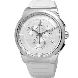 Calvin Klein Dart 個性奔馳時尚三眼計時腕錶-銀白色/45mm K2S371L6