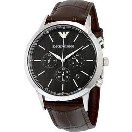 EMPORIO ARMANI 亞曼尼手錶 43mm 計時 黑面咖啡皮帶 AR2482