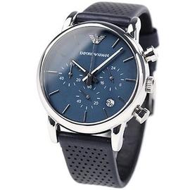 EMPORIO ARMANI 亞曼尼手錶 41mm 計時 藍色 皮帶 AR1736