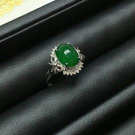 翡翠 A貨 極品 翠綠滿色 正庄 18K金 真鑽 戒指 附國內鑑定書