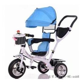 新品首發 兒童三輪車高端折疊車旋轉座椅手推車寶寶腳踏車1~5歲嬰兒自行車 ~藍色 實心輪旋