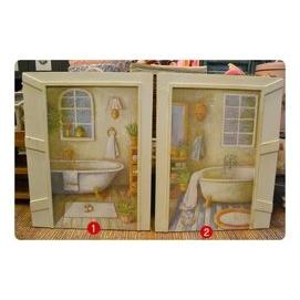 ~~歐舍家飾~~鄉村復古洗白復古大型窗戶浴缸木板畫~共2款~ 裝飾 民宿 餐廳 壁貼 無框