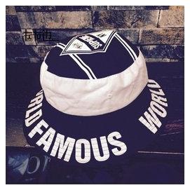 左右邊 盆帽漁夫帽平頂街頭嘻哈帆布字母潮男 帽子港風折疊
