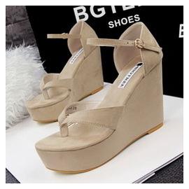 夏女涼鞋坡跟厚底女士松糕性感高跟中跟涼鞋真皮羅馬夾腳鞋潮