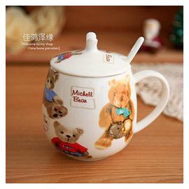 骨瓷 情侶對杯卡通陶瓷杯帶蓋水杯茶杯陶瓷帶蓋帶勺可愛馬克杯