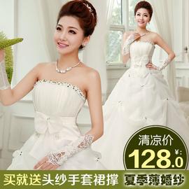 2014 新娘薄婚紗齊地公主抹胸甜美 綁帶款 蕾絲婚紗禮服