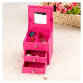 優伊道~收納盒歐式化妝絨布皮質展示架小號迷你珠寶珠寶箱韓國首飾盒