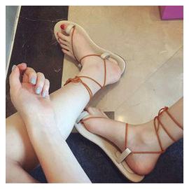 歐洲站 新品甜美anna同款真皮綁帶羅馬平底夾腳涼鞋女涼拖