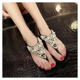 夾腳水鑽串珠涼鞋女高跟厚底坡跟夾趾珍珠松糕跟女鞋