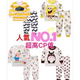 #x1f50d 【超 衝買氣】 兒童純棉嬰兒卡通內衣寶寶家居服內衣睡衣套裝 價【櫻桃威利媽