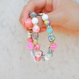 missmicky韓國正品 鑽石吊墜夏日糖果色串珠手鏈手環 自留!
