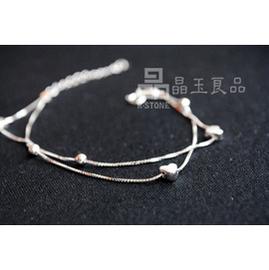 晶玉良品鍍18k金925純銀白金雙層心形手鏈 新品