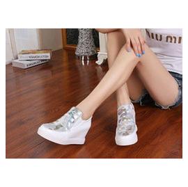 金點芭芘娃娃內增高幫鞋女鞋子 真皮 潮松糕厚底 鞋靴搭靴