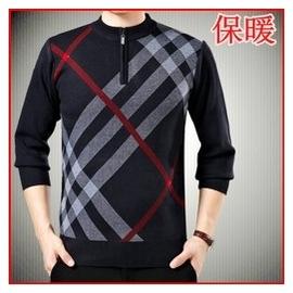 男裝中年男士加厚圓領毛衣針織衫長袖爸爸裝鼕季保暖中老年羊毛衫
