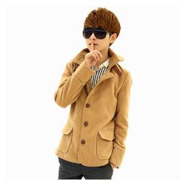 鼕季青年學院風毛呢大衣 呢子短款外套潮男士英倫修身妮子鼕衣