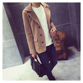 2015鼕季英倫短款毛呢大衣男士純色加厚青年呢子風衣外套修身潮流
