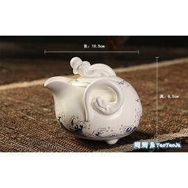 ~淘淘居~功夫茶定窯巧雲龍壺 亞光月白色陶瓷沏茶壺 家用茶具泡茶壺