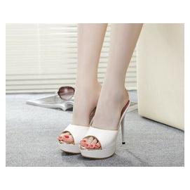 5Cgo【快乐窝】39451598735 鱼嘴高跟鞋厚底防水台磨砂OL性感细跟女凉拖鞋子公主鞋