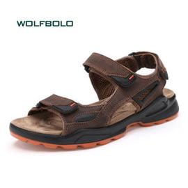 新品男士真皮涼鞋 頭層牛皮沙灘鞋 舒適耐磨防滑大碼涼拖鞋男款魔術貼 0578棕色 39偏大