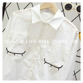 RENA 韓範 簡約寬松顯瘦睫毛刺繡七分袖白襯衫翻領襯衣女上衣