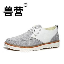 獸營 低幫帆布鞋男 潮流 男鞋透氣布鞋板鞋潮流 灰色 44下單加關注送增高墊一副
