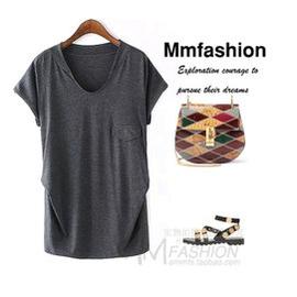 MMFS外貿原單正品尾貨剪標女裝  V領中長款短袖女T恤