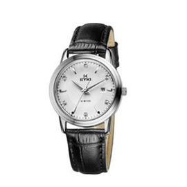 艾奇复古真皮石英表 不锈钢表盘 时尚女表 精美镶钻刻度日历手表 8662 女表白色