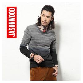 JASONWOOD堅持我的 潮流男士毛衫 V領提花長袖毛衣針織衫