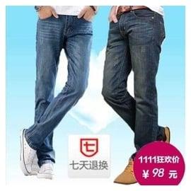 秋鼕款傑克牛仔褲男瓊斯直筒寬松大碼以純藍色為主低腰潮牌青少年