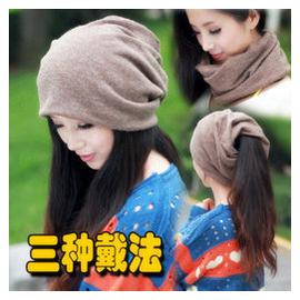 包頭帽頭巾帽子男女秋鼕套頭圍脖脖套純色穿頭兩用~簡約純色圍脖