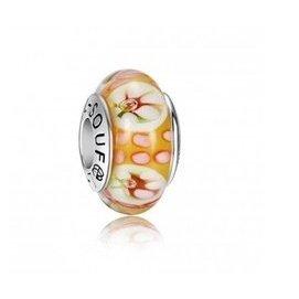 一個~SOUFEEL 925純銀橘底白花琉璃珠47165