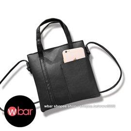 ~wbar~ 黑色皮革手提側背兩用小方包 手提包 側背包 斜背包 側肩包