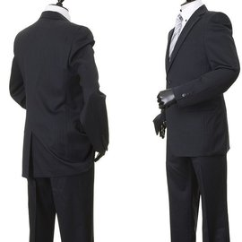 COMME CA MEN 全內裡羊毛料純黑色暗條紋雙扣成套西裝外套西裝褲44窄版S號ARM