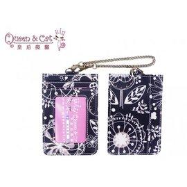 白鳥奈子 舖 卡片證件卡套 防水布包  Queen  Cat 黑底線條花 滿千