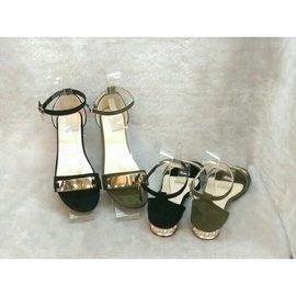 賣場最 #x1f4aa 金屬片一字帶 粗跟涼鞋 低跟羅馬露趾高跟鞋 婚禮穿搭 約會好走好穿