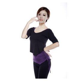 瑜伽服套裝春夏 梵歌納瑜伽服三件套裝含胸墊瑜珈服女士加大碼愈加舞蹈練功服 中袖黑 深紫 黑