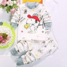 花露米   兒童內衣套裝純棉寶寶秋衣秋褲0~5歲嬰幼兒睡衣史努比大嘴猴黃色小鴨猴子小熊圖案