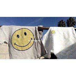 女童男童 黃色笑臉短袖竹節棉上衣
