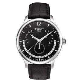 TISSOT Tradition 逆跳星期萬年曆石英腕錶 黑~42mm  T0636371