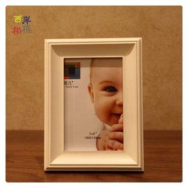 白色實木相框擺臺 掛牆 6 7 8 10 12寸美式真玻璃鏡面復古相框