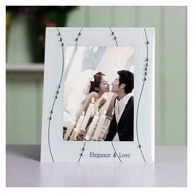 7寸水晶鑲鑽相框 玻璃相框透明擺臺 婚紗兒童寫真照片畫框相架