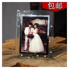 包郵韓式唯美6寸7寸玻璃相框七寸婚紗影樓水晶擺臺5R簡潔相架