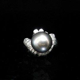 大眾當舖 流當品 編號491 天然南洋珍珠戒指、珍珠12.2mm 鑽石k金戒台、國際圍^#