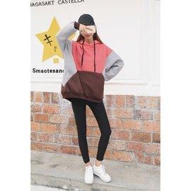 韓國 百搭寬鬆顯瘦 撞色拼接連帽抓絨中長款衛衣女