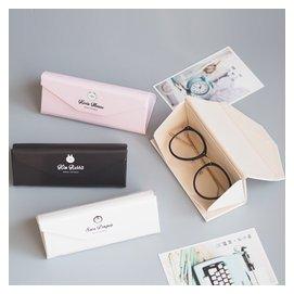 韓國創意三角折疊pu眼鏡盒 小清新便攜式太陽鏡墨鏡收納盒子女