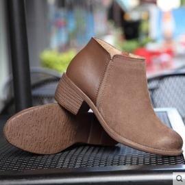 英倫真皮女靴子磨砂皮粗跟短靴女及裸靴中跟短筒女鞋冬鞋皮靴