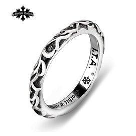 日韓復古情侶對戒單身尾戒潮人戒指女簡約男鈦鋼細圈潮男 指環