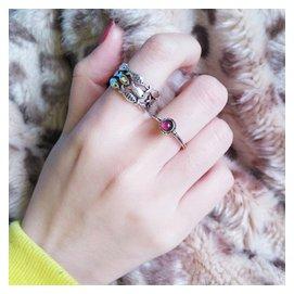 日韓925純銀復古泰銀戒指 魚群食指指環石榴石轉運珠手飾品女潮人